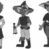 Grayscale concepts of the same character standing side by side to experiment with shape design.
