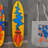 I created a character last year named Blob Dude, and he occasionally goes on wacky adventures with his pet snake. In this series, I painted a skate deck, as well as created merchandise such as tote bags, prints, and t-shirts. Funky, Surreal, Fun, Bright, Skateboard, Skate, Deck.
