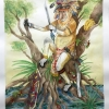 Proboscis Monkey Battle Primates, by Cactus Springman. A large watercolor painting of a proboscis monkey sitting on a mangrove tree. He is dressed like a Dayak warrior, one of the native peoples in Borneo. He is surrounded by water, plants, fruits, and other vegetation. The monkey is holding a machete, and a long, painted shield rests near him.