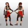 girl in red and brown and with a sword