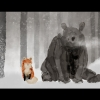 A fox and a bear sit pensive in the snow.