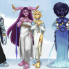 """""""6 etheral looking characters standing in a sky plane"""""""