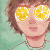 A boy with lemons for eyes