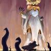 """Huge Goddess raising tendrils of ichor from the ground as a character runs away."""