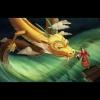 Shimchung, in a wedding gown, is throwing herself overboard a boat to the dragon king.