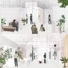 Studio 3 Bridge Housing Prototype Interior Renderings of common space and sleeping space