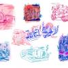 selected concept designs for suburban home - gouache and mixed media