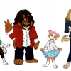 Here are some background character concepts for a comic book series featuring anthropomorphic dog characters.