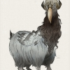Final illustration of a creature hybrid of a markhor goat and a hornbill bird.