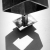 Slightly polished welded steel sculpture, hollow square.