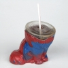 Red and blue cat figure with head missing and plastic drink container with cap and straw in its place.