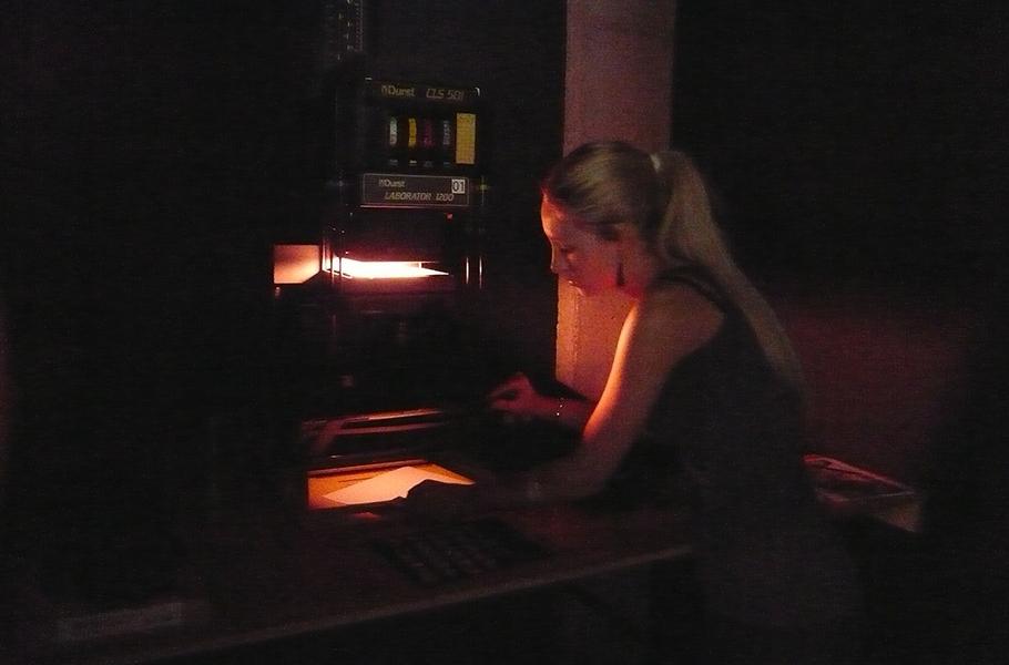 FA girl in darkroom