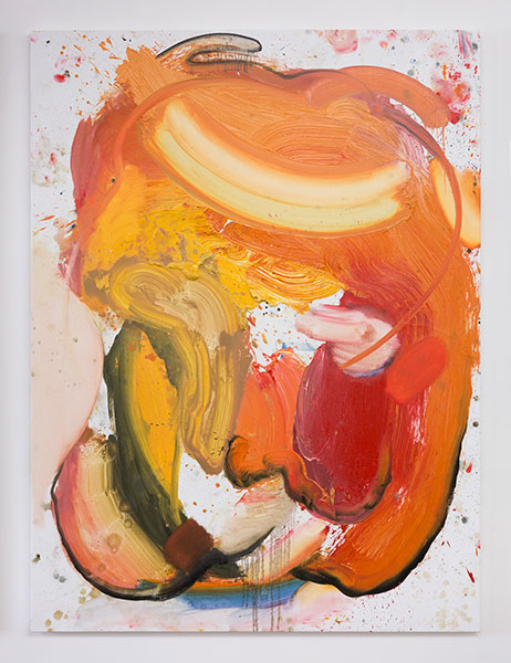 Work by artist Andy Woll featuring broad paint strokes of oranges and yellows